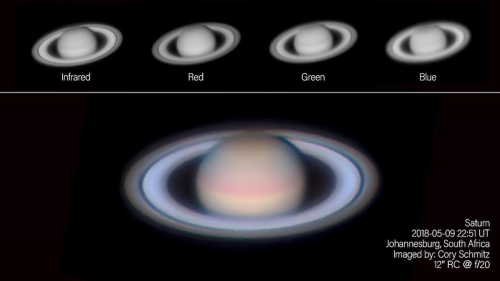 Comparing sharpness in IR-R-G-B at Saturn